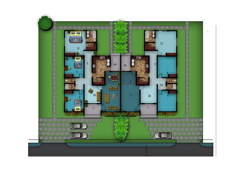 Villa homes floor plans for Semi attached house plans